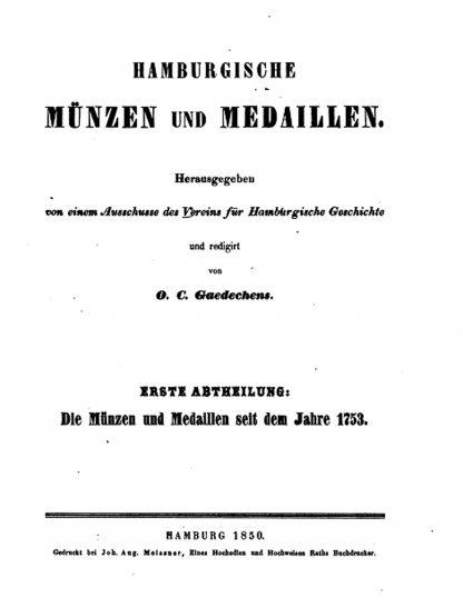 münzen medaillen Hamburg Gaedechens teil 1
