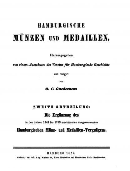 gaedechens hamburgische muenzen medaillen teil 2